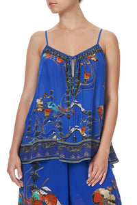 STRAP TOP WITH TIE FRONT DETAIL TREE OF LIFE