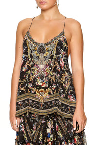 CAMILLA T-BACK SHOESTRING TOP FRIEND IN FLORA