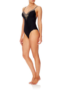 CAMILLA TIE BACK V-NECK ONE PIECE BLACK