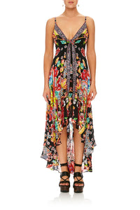 CAMILLA PAINTED LAND TIE DETAIL HIGH LOW DRESS