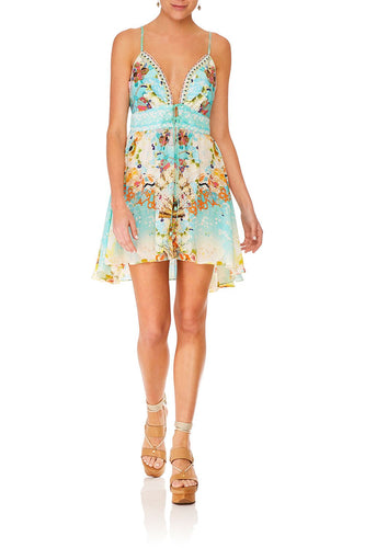CAMILLA TIE FRONT MINI DRESS RETRO'S RAINBOW