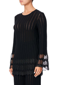 KNITTED LACE TOP MARAIS AT MIDNIGHT