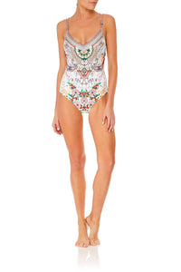 CAMILLA TWIST TIE ONE PIECE WITH TRIM TIME AFTER TIME