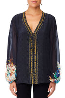 CAMILLA UP ALL NIGHT PEASANT BLOUSE W FRONT LACING