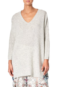 V NECK JUMPER WITH PRINT BACK SOUTHERN BELLE