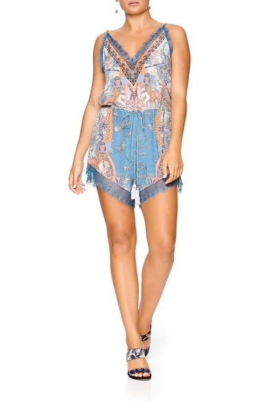 CAMILLA V-NECK LACE PLAYSUIT BLANCHES BLESSING