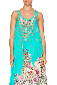 CAMILLA V NECK RACER BACK DRESS FLORAISON