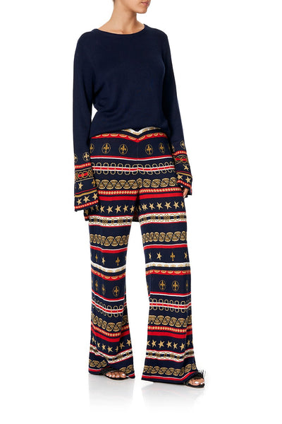 CAMILLA WIDE LEG JACQUARD KNIT PANT COSTUME PARTY