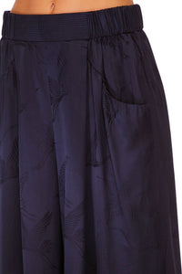 CAMILLA SOLID NAVY WIDE LEG PANT W GATHERED POCKET