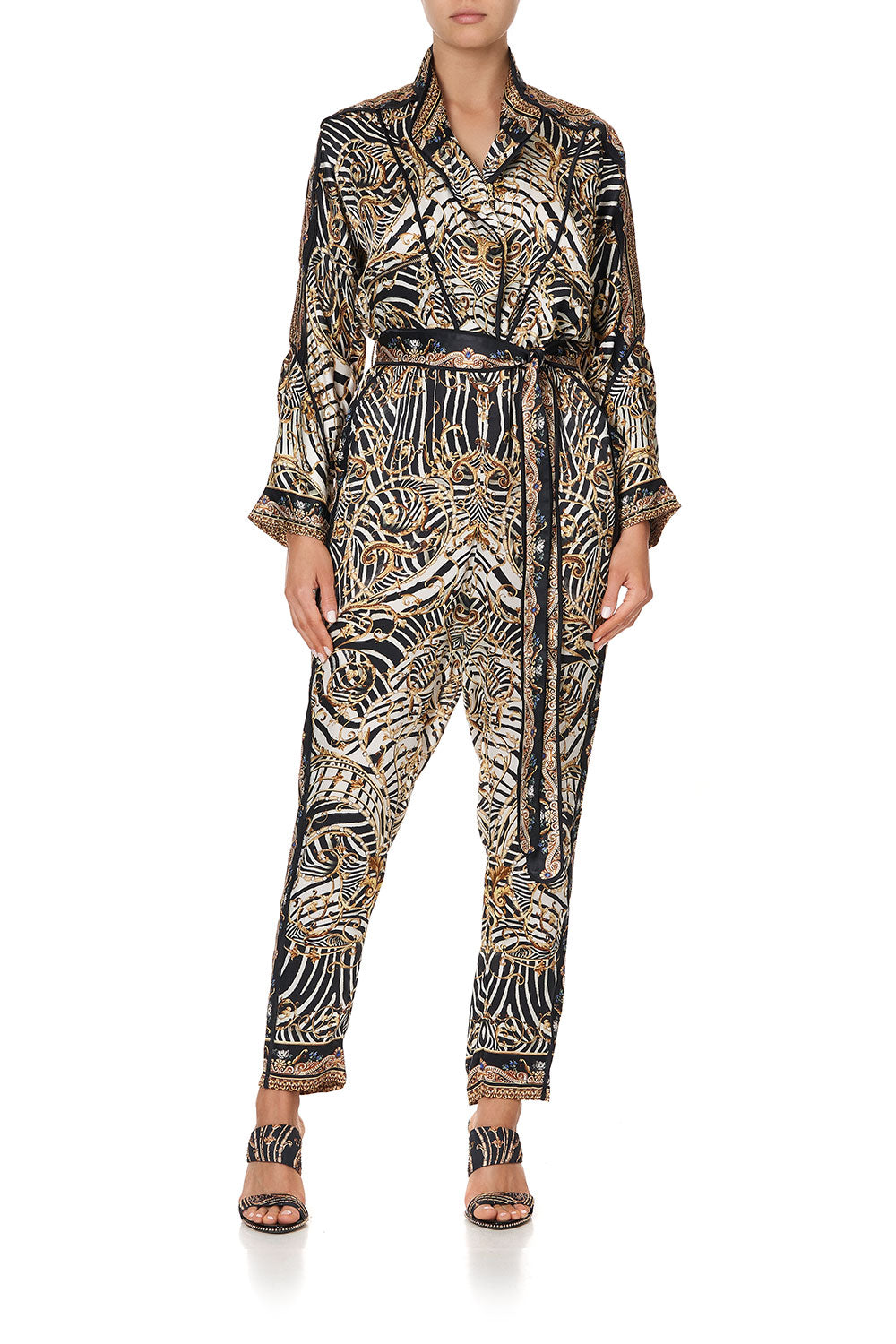 ZIP FRONT PANEL JUMPSUIT NIGHT WAITING FOR DAY