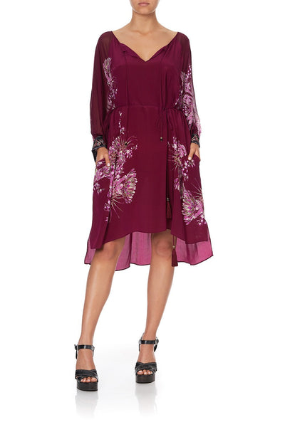 RAGLAN SLEEVE TIE FRONT DRESS DESERT SUNRISE
