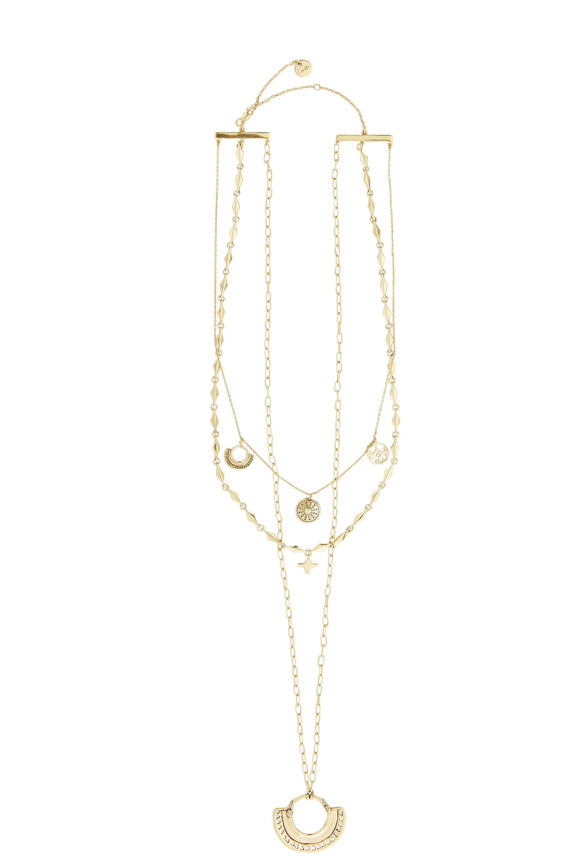GOLD BRASS LAYERED CHAIN NECKLACE