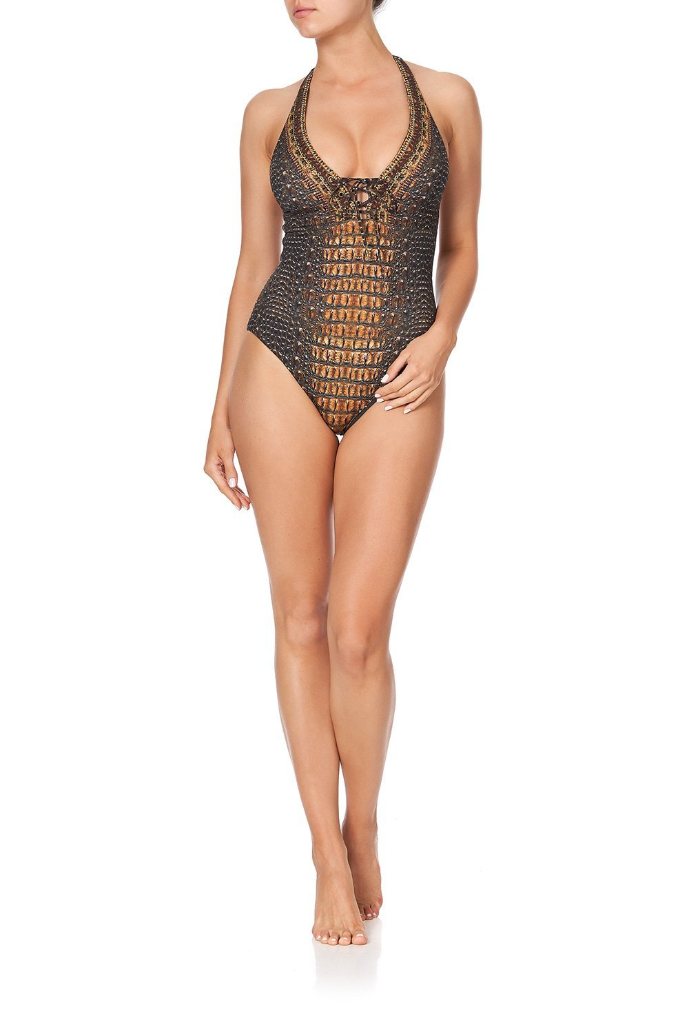 HALTER ONE PIECE WITH EYELETS CROCODILE ROCK