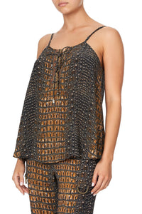 LACE UP FRONT CAMI CROCODILE ROCK