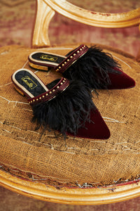 FEATHER SLIPPER BURGUNDY
