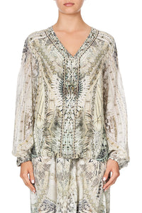 PEASANT BLOUSE WITH FRONT LACING DAINTREE DREAMING