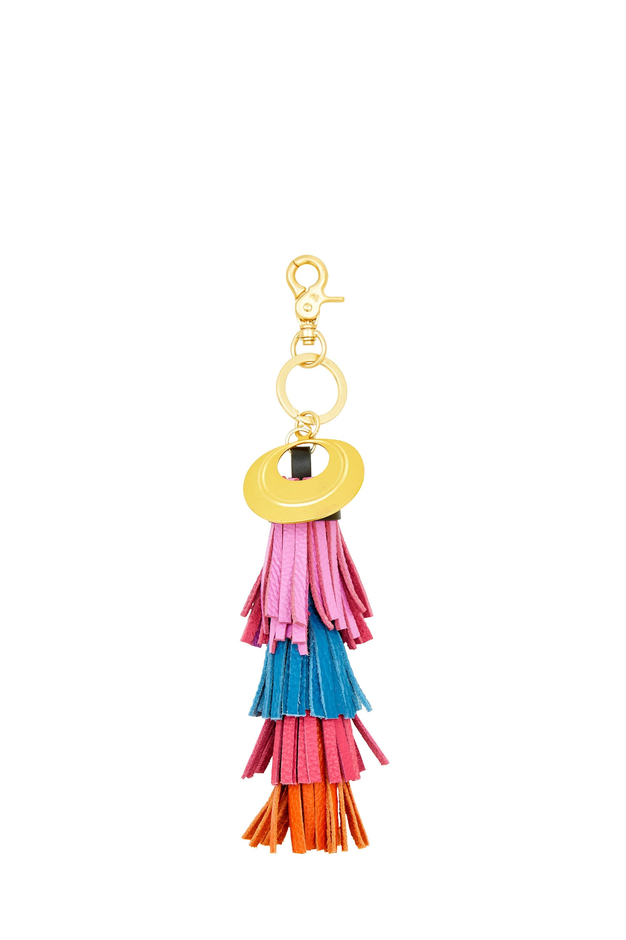 RIO RIOT LAYERED LEATHER TASSEL KEY RING