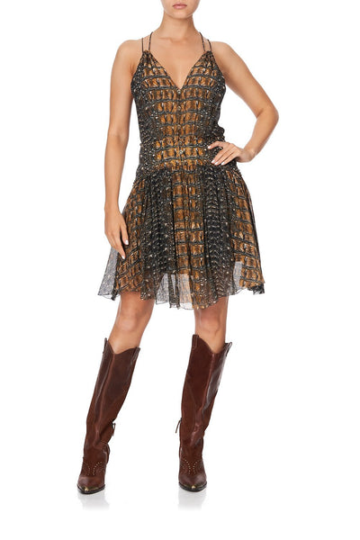 SHORT DRESS WITH SHAPED WAISTBAND CROCODILE ROCK