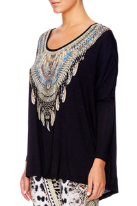 BLACK OVERSISED LONG T-SHIRT