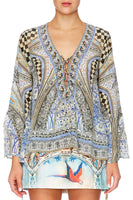 LOST IN A DREAM TIE FRONT BLOUSE