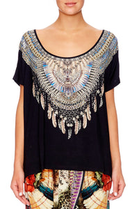 BLACK WIDE ROUND NECK T-SHIRT
