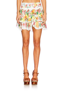 THERES NO PLACE LIKE RIO LAYERED FRILL MINI SKIRT