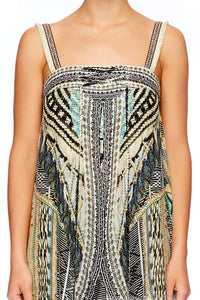 WEAVE ON TIE DETAIL OVERLAY PLAYSUIT