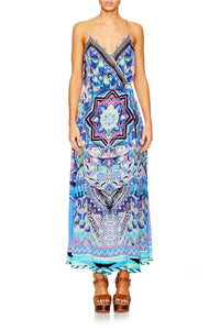 THREADS OF COSMOS STRAPPY WRAP DRESS