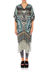 RUNAWAY READY LONG V NECK PONCHO W FRINGING