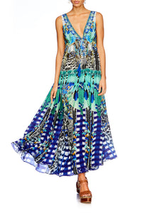 LEAVE ME WILD LONG V NECK DRAWSTRING DRESS