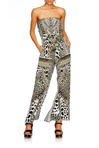 ANIMAL INSTINCT TIE WAIST STRAPLESS JUMPSUIT