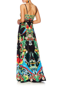 TOUCAN PLAY TIE FRONT CUT OUT MAXI DRESS