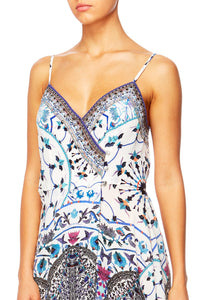 IN THE CONSTELLATIONS CROSS OVERLAY HALTER DRESS
