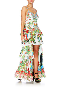 ONE FLEW OVER LONG OPEN FRONT PESANT DRESS