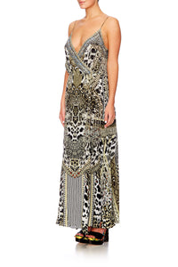 ANIMAL INSTINCT STRAPPY WRAP DRESS