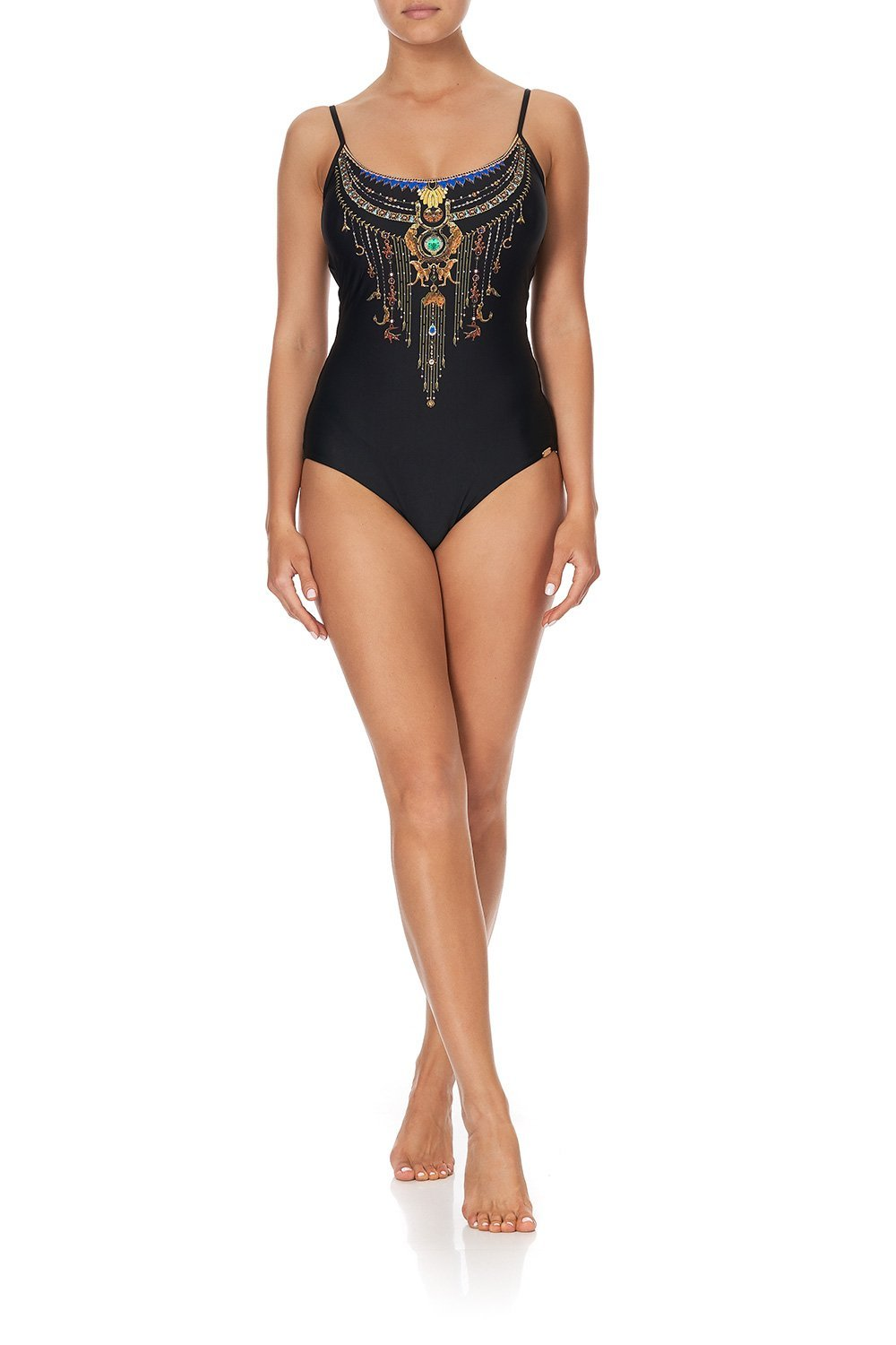 ROUND NECK ONE PIECE SOLID BLACK
