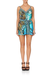 V-NECK PLAYSUIT WITH BANDS MARINE QUEEN
