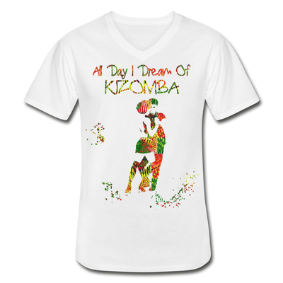 All Day I Dream Of Kizomba Africa Colors Men's V-Neck T-Shirt - white