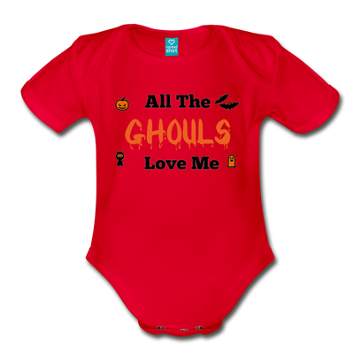Organic Short Sleeve Bloody Halloween Onesie®, All the Ghouls love me, Baby Onesie® Baby boy, Toddler shirt, Funny Onesie®, Newborn Onesie®, 1st Halloween, Hallows Eve - red