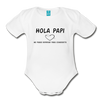 Spanish Pregnancy Announcement Organic Long Sleeve Baby Bodysuit - white