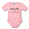 Spanish Pregnancy Announcement Organic Long Sleeve Baby Bodysuit - light pink