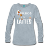 Leaves & Lattes w/ Images Women's Premium Long Sleeve T-Shirt - heather ice blue