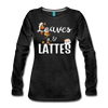 Leaves & Lattes w/ Images Women's Premium Long Sleeve T-Shirt - charcoal gray