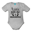 Please Pass Me Too Grandma Organic Short Sleeve Baby Bodysuit - heather gray