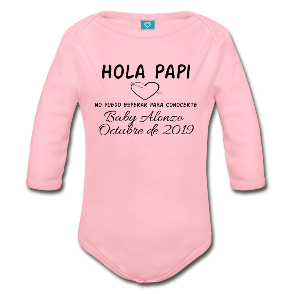 Spanish Pregnancy Announcement Organic Long Sleeve Baby Bodysuit w/ Name and Date