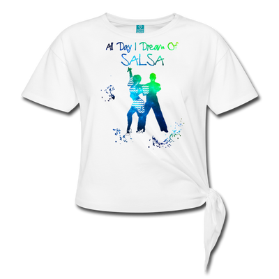 All Day I Dream Of Salsa Women's Knotted T-Shirt - white
