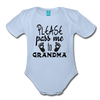 Please Pass Me Too Grandma Organic Short Sleeve Baby Bodysuit - sky