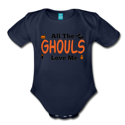 Organic Short Sleeve Action Man Halloween Onesie®, All the Ghouls love me, Baby Onesie® Baby boy, Toddler shirt, Funny Onesie®, Newborn Onesie®, 1st Halloween, Hallows Eve - dark navy