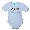 Spanish Pregnancy Announcement Organic Long Sleeve Baby Bodysuit - sky