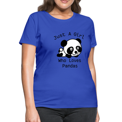 Just a Girl Who Loves Pandas Women's T-Shirt - royal blue